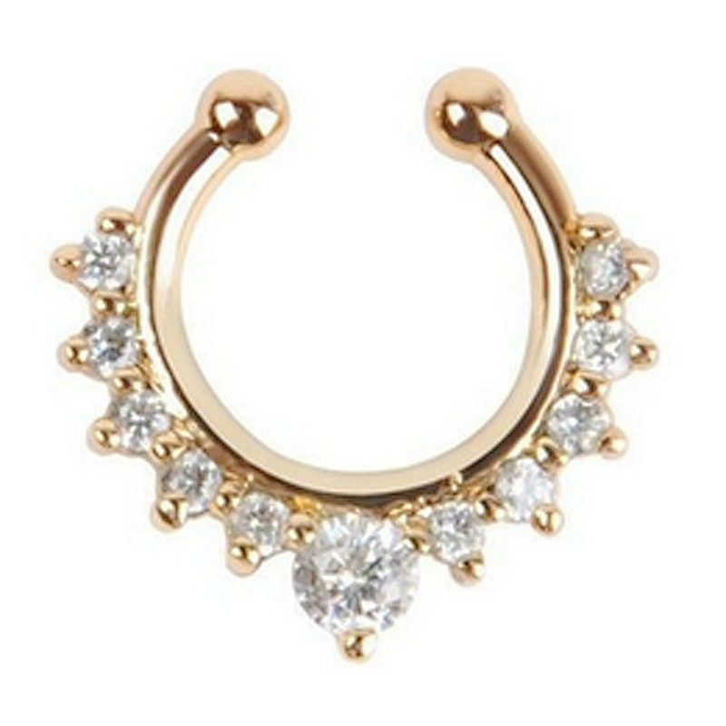 Numbers-Hanger Hoop Nose-Ring Body-Jewelry Fake Piercing Septum Clicker New Alloy