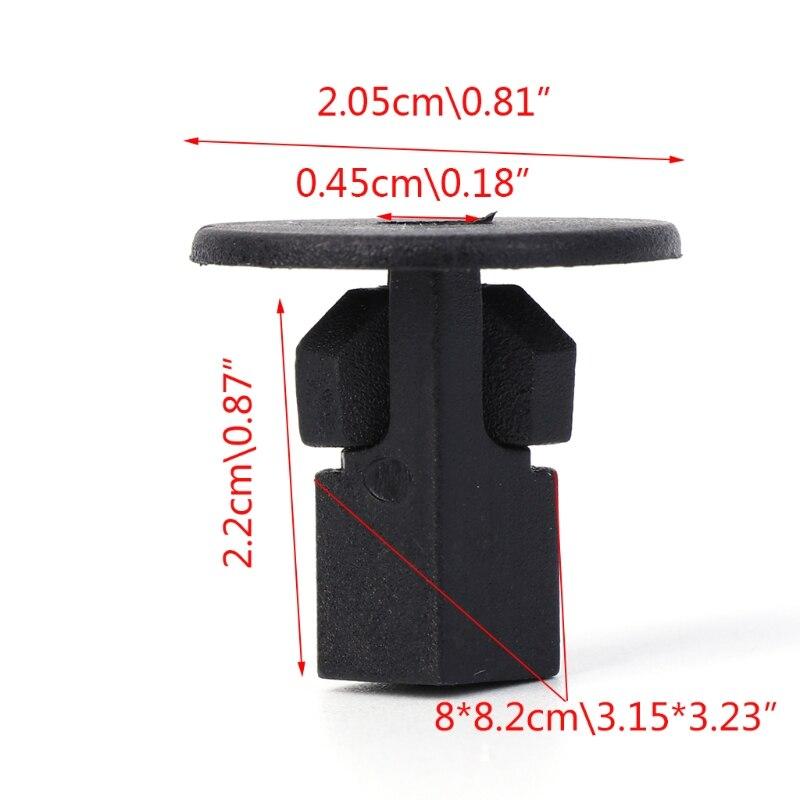 50 Pcs Car Fastener Clips Bumper Inner Fender Rivets Push 8x8.2mm