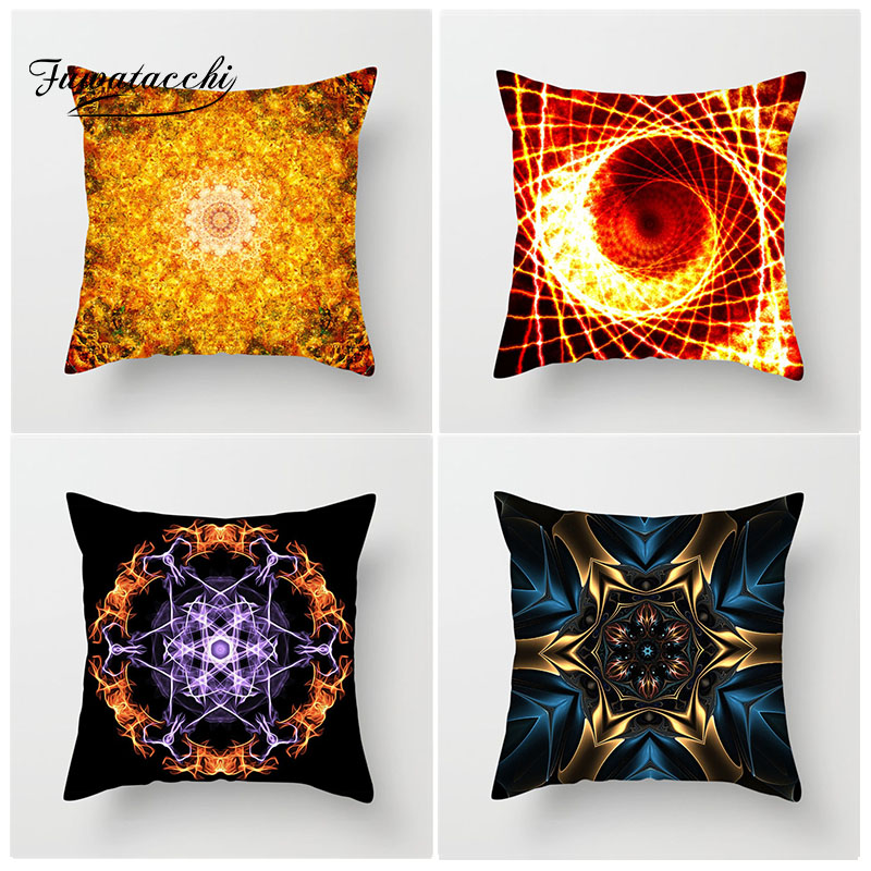 Fuwatacchi 3D Star Geometric Cushion Cover Science Universe Theme Pillow Home Decoration Accessories Striped Pillowcase