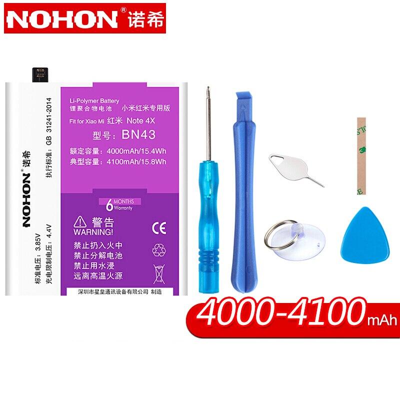 NOHON Li-Polymer Battery for Xiaomi Redmi Note 4X BN43 4000-4100mAh High Capacity Hongmi Battery for Phone with Repair Tools Kit