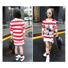 Girl Clothes Cartoon Print Long-sleeved Striped T-shirt Dress Cotton Roupas Infantis 3-11 Y Child Quality Clothing 2019 Hot Sale cartoon print striped night dress