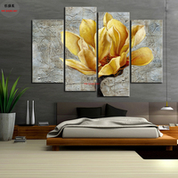 4 Panel Canvas Painting HD Print Sunset Tree Picture Vintage Art Wall Picture Wall Pictures For