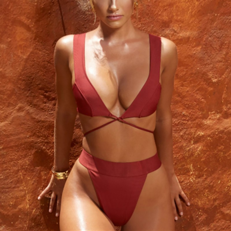 Women   Bra     Set   Fashion sexy swimsuit women's swimwear Brazil bikini suit thong solid color bandage cross strap bikini 2019 new