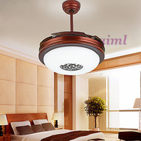 42inches 108cm Ceiling Fan Retro Country Nickel Feature for LED MetalLiving Room Bedroom Dining Room