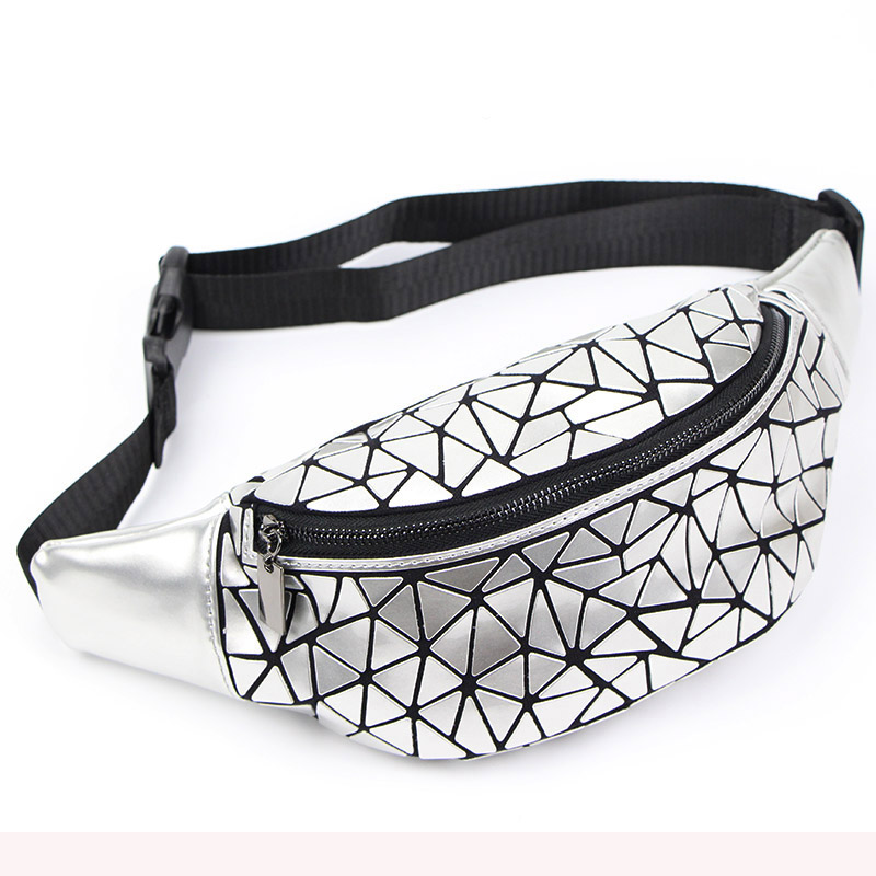 New Waist Bags Fanny Pack For Women Belt Bag Geometry Sequin Fanny Pack Female Luminous Waist Packs Chest Bag sac banane femme women rivets waist fanny pack belt bag women leather waist bag luxury heuptas wandelen groot handbags bags designer sac banane