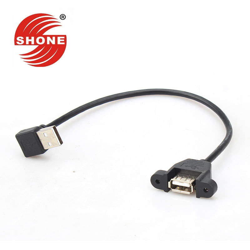 Computer & Office Capable Usb2.0 Extension Cord With Ear 90 Degree Right Angle Elbow With Screw Hole Can Be Fixed Usb Male To Female Data Line 0.3 M High Quality And Low Overhead