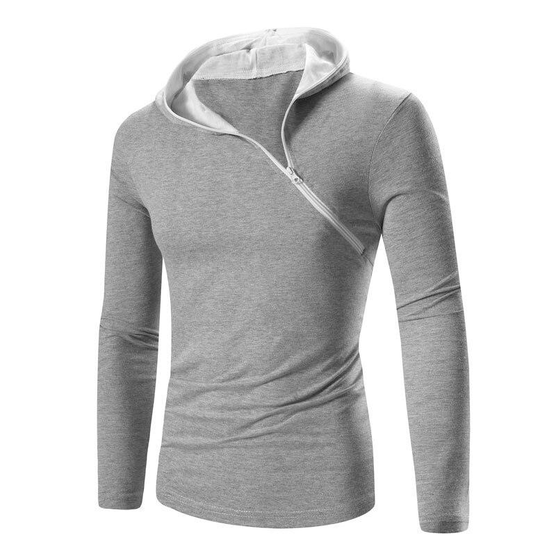 2017 새로운 여름 남성 패션 긴팔 티셔츠 패치 워크 지퍼 깃털 남성 면화 슬림 O 넥 T 셔츠 5 색 M - XXL