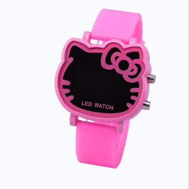 Wholesale LED Electronic Watches hello kitty cat pink alloy watch girls Children