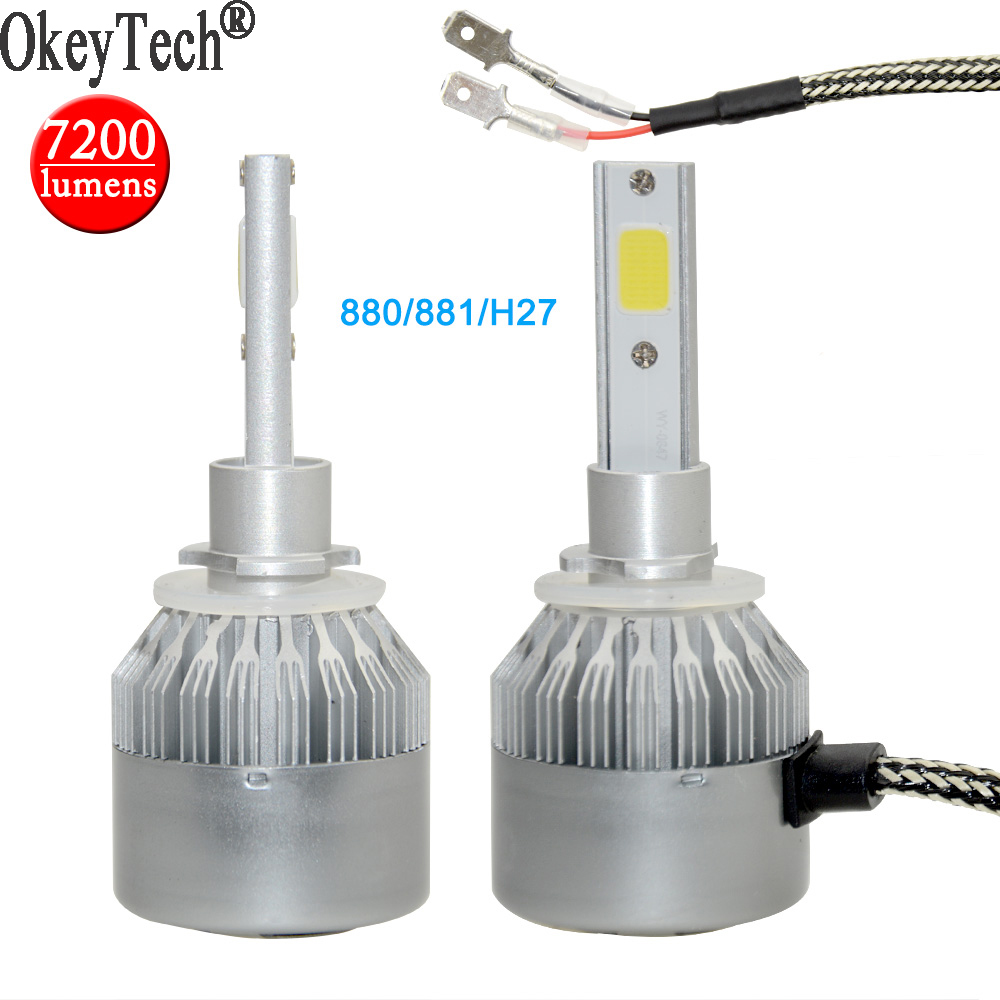 2psc/set 880/881/<font><b>H27</b></font> <font><b>LED</b></font> Car Auto Headlight Bulbs <font><b>Super</b></font> Bright 7200lm 6000K 80W COB Single Head Lamp Fog Light 9~36V White Light
