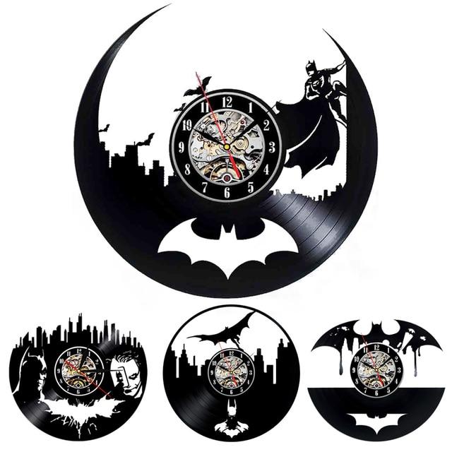 Batman Black Vinyl Record Wall Clock Creative Fashion Decoration Sticker Home Decor 3D Hanging Watches