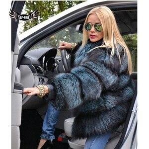 Image 3 - BFFUR כתרים אישה חורף 2020 אופנה מעילי עור אמיתי חדש בתוספת גודל בגדים מלא פלט אמיתי טבעי פרווה כחול שועל מעיל