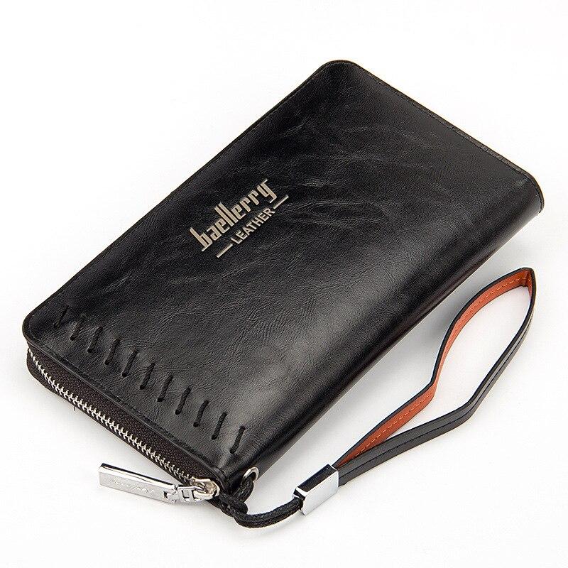 Clutch Men Credit Card Holder Wallet Male Big Long Purse PU Leather Money Cash Zipper Pocket Maschio Portafoglio Casual Handbag leather