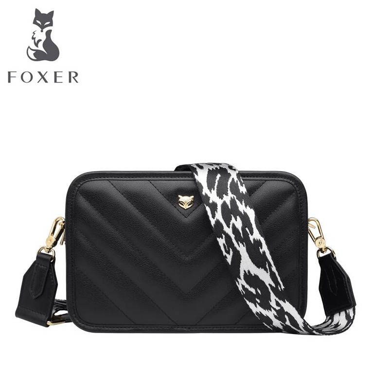 FOXER luxury fashion high quality small square bag handbag 2019 new wave fashion simple Korean version of the wide shoulder straFOXER luxury fashion high quality small square bag handbag 2019 new wave fashion simple Korean version of the wide shoulder stra