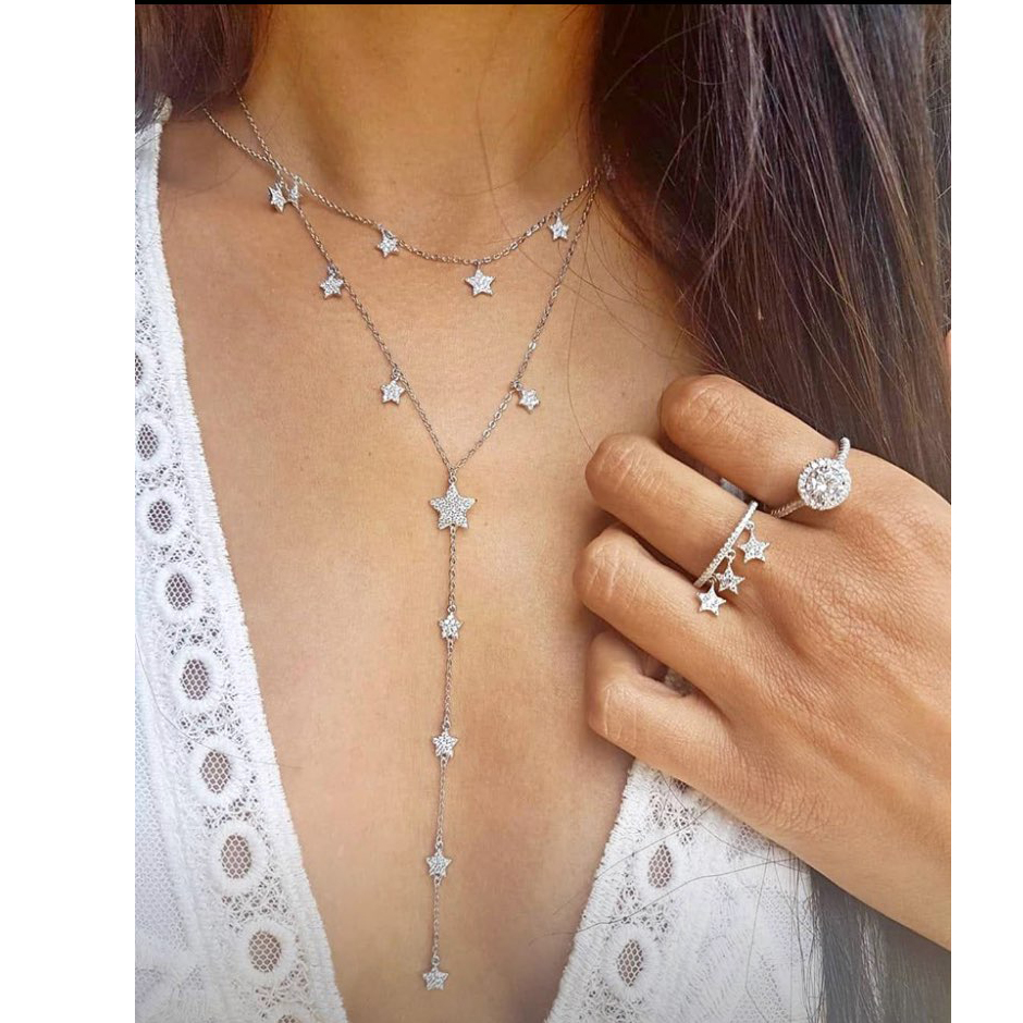 Lovely Cz Star Charm Long Women Necklace Silver Gold Color Fashion Trendy Jewelry Cubic Zirconia Cz Charming Lariat Chain