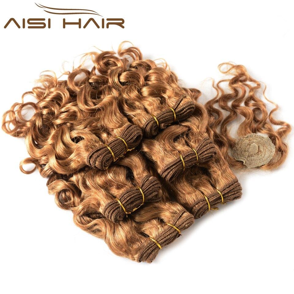 Brésilienne Miel Foncé Blonde Bouclés Faisceaux de Cheveux Humains Avec Fermeture Non Remy Cheveux Weave Court de Cheveux Humains Extensions 8 pouces