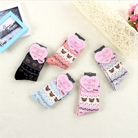 5 Pairs Hot Casual Women Cute Animal Socks Casual Character Bow Tie Pattern Warm Knitted Socks