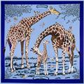 130x130cm Impressionist style 100% Silk Scarf Women Scarf Giraffe painting NeckerChief Bandana Large Square Office Lady Gift