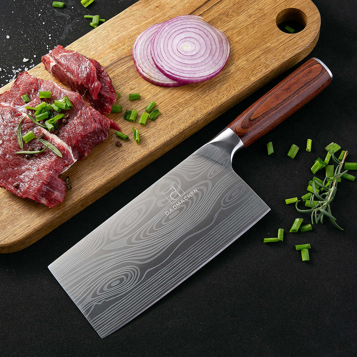 DAOMACHEN chef Knives Professional Kitchen knife 7 inch 7CR17 Stainless Steel Imitation Damascus Sanding Laser Santoku Knife