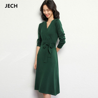 JECH 2018 Spring Cashmere Wool Women Party V Neck Dresses Fashion Female Sexy Casual Long Sweaters Knee Length Warm Pullover