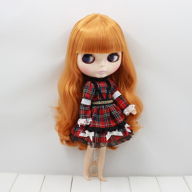 Neo Blythe Doll Red Checkered Dress