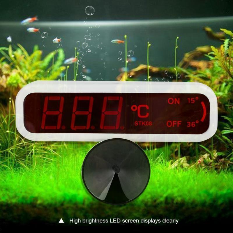 HOT-Led Digital Aquarium Fish Tank Thermometer Water Temperature Measuring Electric Equipment Us Plug