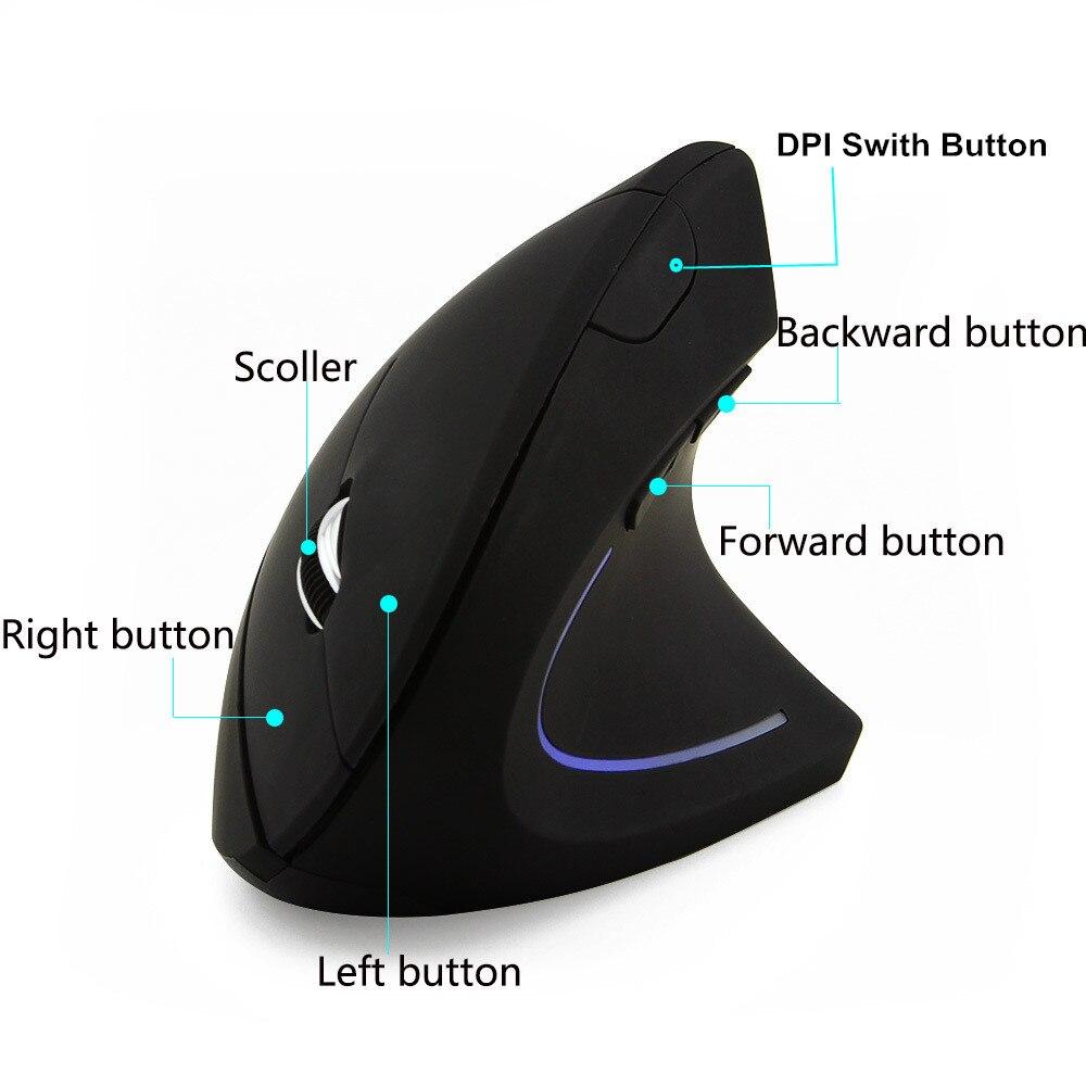 1600 Точек на дюйм вертикальный Мышь 5D Беспроводной вертикальный Мышь с USB приемник Gaming Мышь Эргономика Mause для настольных ПК игры Мыши компью...