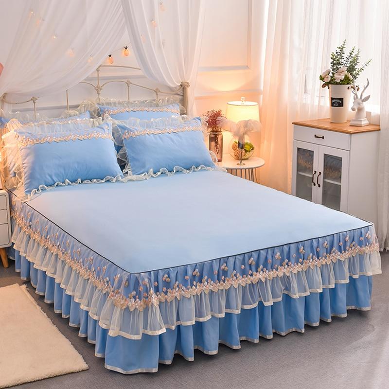 Image 5 - Корейский кружевной комплект для кровати, розовый, Королевский  размер, Комплект постельного белья, однотонная кровать, юбка, простыня,  наволочки для девочек, Свадебные постельные принадлежности, домашний  текстильНаборы постельного белья