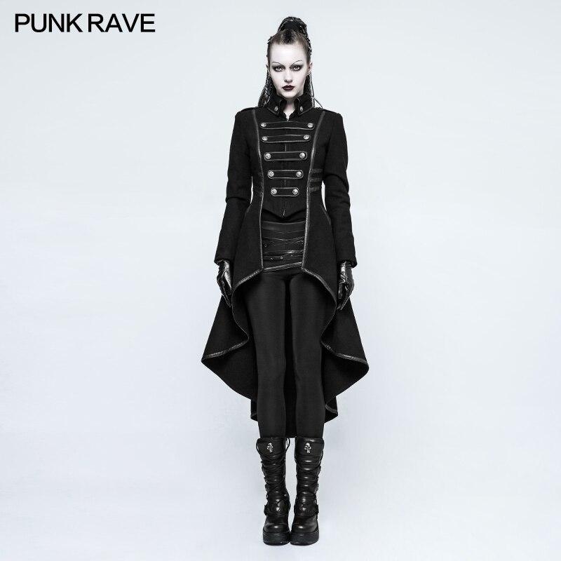 PUNKRAVE Women Punk Military Uniform High Collar Woolen Jacket Coat Plus Size Black Motorcycle Casual Ladies