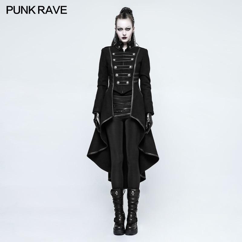 PUNKRAVE, chaqueta Punk militar para mujer, chaqueta de lana con cuello alto, abrigo de talla grande, negro, motocicleta, Casual, señoras, prendas de vestir, gabardina