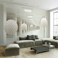 Custom Wall Mural Large Wall Painting Modern 3D Stereoscopic Abstract Art Space White Ball Living Room