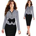 2016 New Womens Elegant Vintage Tartan Check Plaid Fitted Dress Long Sleeve Bow Sashes Formal Party Work Sheath Pencil Dress