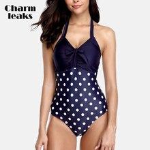 Charmleaks Womens One Piece Swimsuit Polka Dot Printed Swimwear Tied From Cute Bathing Suit Monokini