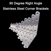 DHL Shipping 100PCS Stainless Steel 90 Degree Right Angle Corner Bracket L shape Frame Board Support Brace Furniture Connector