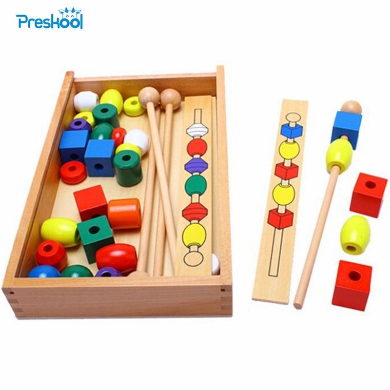 Montessori Bead Sequencing Set Block Toys Classic Toy baby educational toys montessori bead sequencing set classic toy wooden educational toys building blocks gift