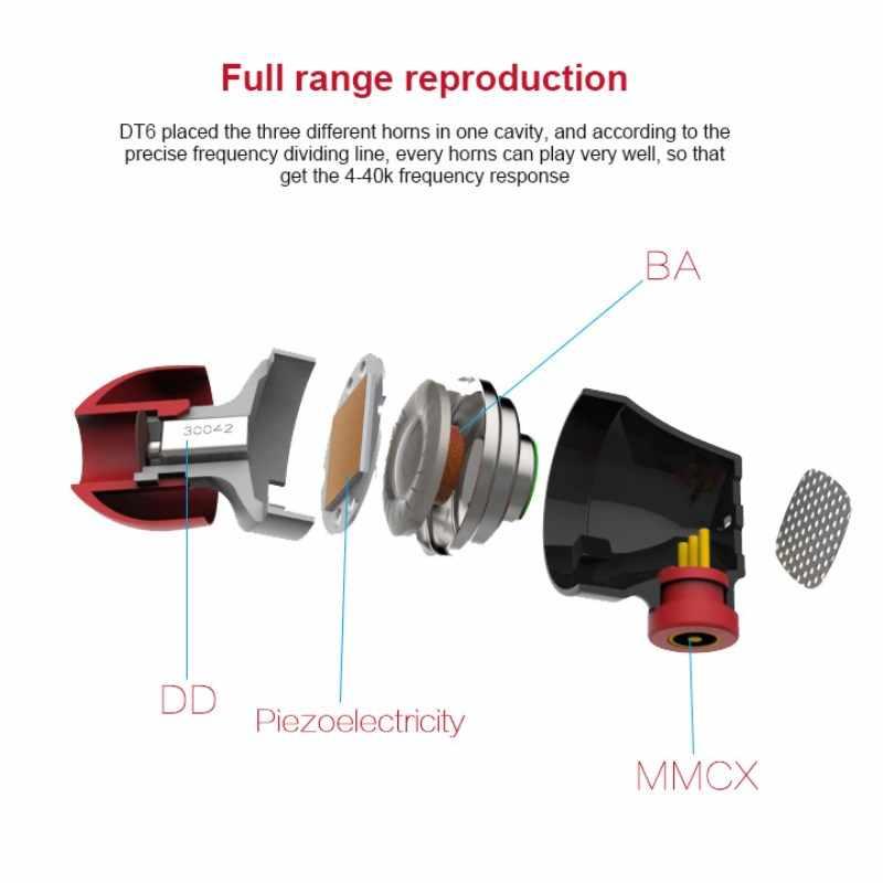 Пьезоэлектрические гибридные наушники SENFER DT6 HI FI, стерео наушники с микрофоном, металлическая диджейская гарнитура MMCX, съемный кабель