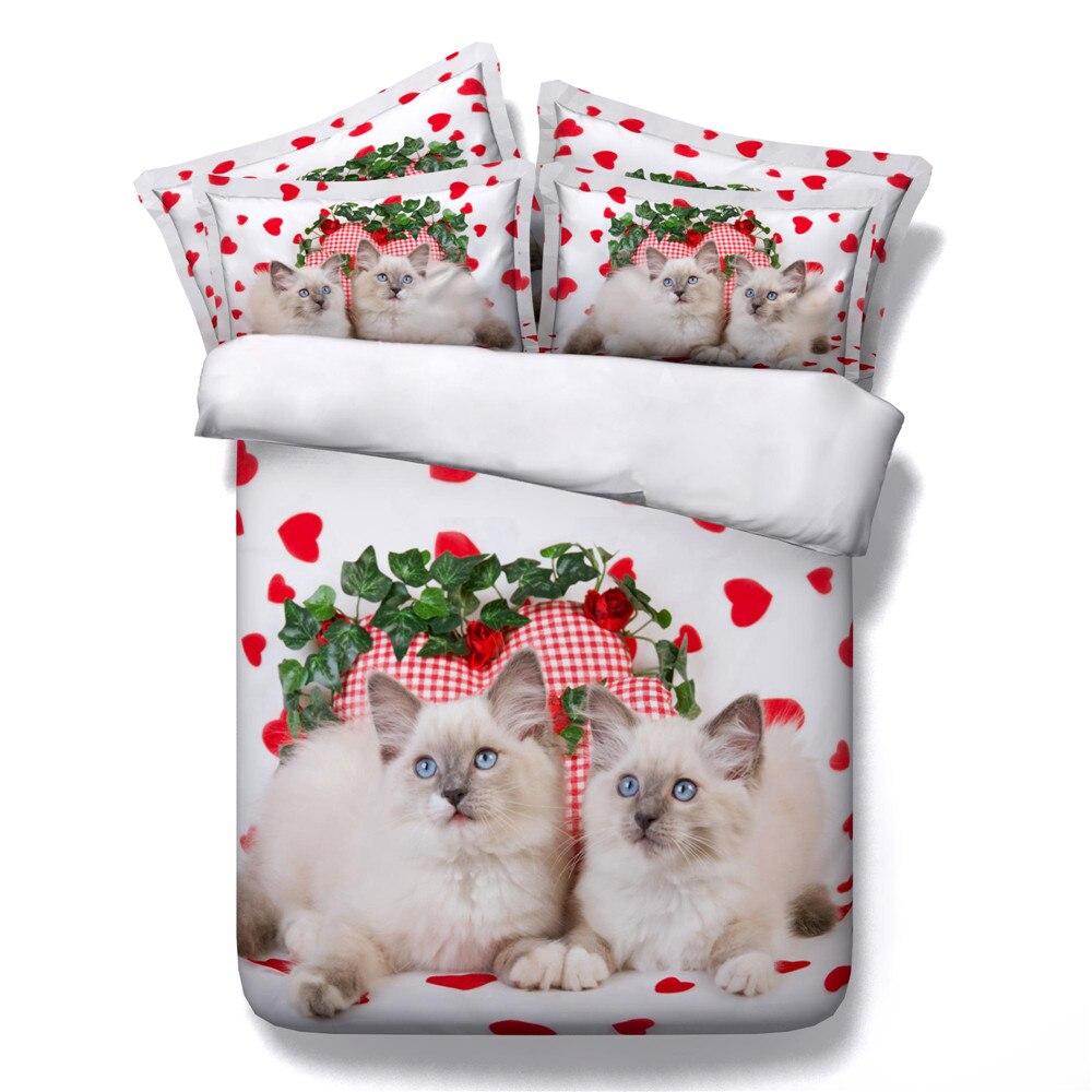 Juego de cama de algodón de la serie de animales de nuevo diseño de yeeKin 3/4 Uds 3D impreso Super lindo conejo/gatos/colcha de búho de dibujos animados/funda Nórdica
