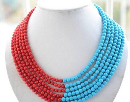 LIVRAISON GRATUITE >>>@@> N1432 6à rangs 6mm bleu turquoise corail rouge perle collier-Mariée bijoux livraison gratuite