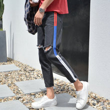 цены High quality 2019 wholesale spring autumn male cargo knee Ripped hole jeans hip hop street teenagers male foot beggar pants