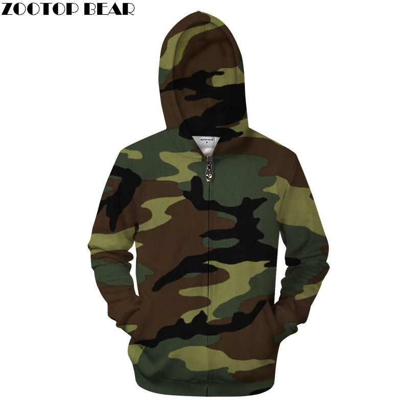 Army Green Camo Women hoodie 3D Printed Hoodies Streetwear Camouflage Zipper Brand Hooded Sweatshirts ZOOTOP Bear Drop Ship