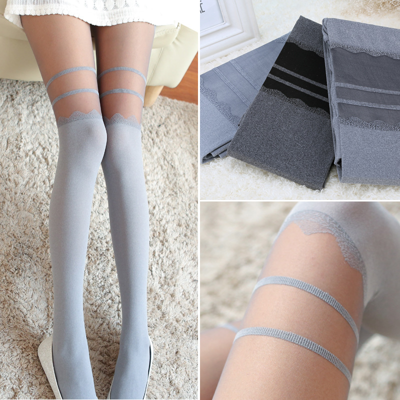 Sexy Womens Gray Tights Cute Striped Pantyhose for Spring and Summer
