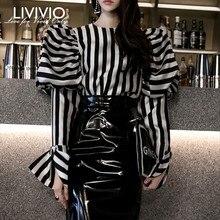 [LIVIVIO] полосатые рубашки блузки женские с круглым вырезом Фонарь с длинным рукавом винтажные элегантные топы женские Весенняя модная одежда