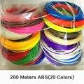 200 Metros 20 colores 3D Pluma Impresión Alambre 1.75mm Consumibles de Plástico Pluma 3D Filamento Impresora ABS