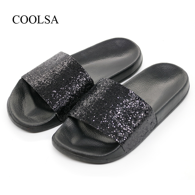 COOLSA Women's Summer Non-slip Solid Flat Bling Slippers Sequins Designer Flat Slides Beach Home Slippers Female Sparkling Shoes coolsa new summer women bling slippers sparkling flip flop eva flat non slip slides home slipper lady casual beach sandals shoes