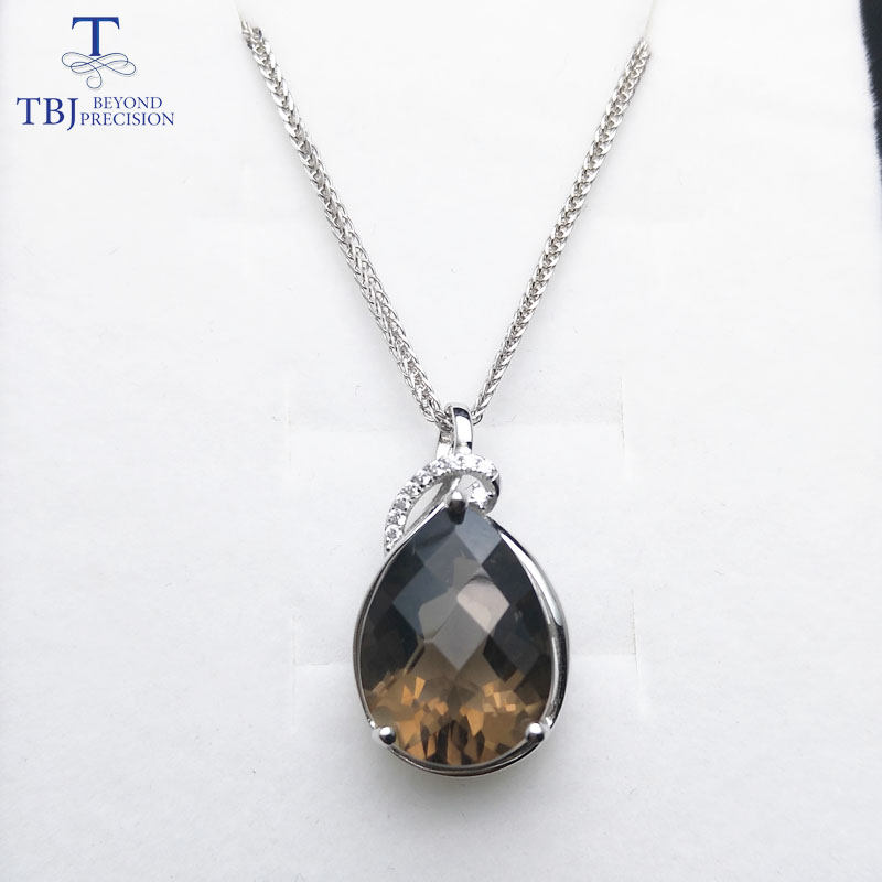 TBJ 925 sterling silver pendant with natural smoky quartz pear 12 16mm checkboard cutting gemstone necklace