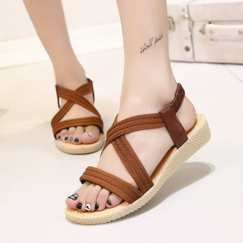 Women rope Sandals Simple femaleFish Mouth Flat ladies beach Shoes brown Elastic Band Rome Woman slippers 2019 Summer New girl shoes in sri lanka