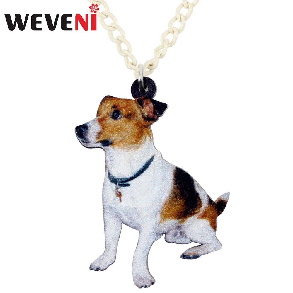 WEVENI Acrylic Sitting Jack Russell Dog Necklace Pendant Chain Choker Fashion Animal Jewelry For Women Girl Ladies Teens Kids