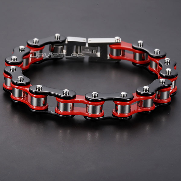 Davieslee 12mm Mens Bracelet Biker Motorcycle Link Chain 316L Stainless Steel Bracelet Red Yellow Black Silver Color DLHBM58