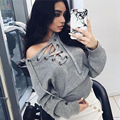 Blusas Femininas Fashion Women's Clothing Shirts Knitted  Long Sleeve Cotton Hollow V-neck Tops Tee Clothes Short Paragraph