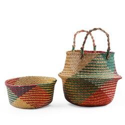 Foldable Wickerwork Storage Basket Hanging Decorative Baskets Garden Flower Pot Rattan Planter Seagrass Laundry Basket