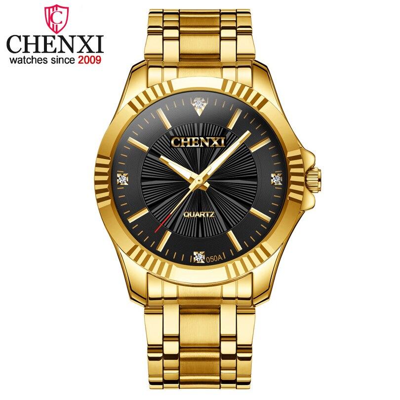 CHENXI marca famosa Noble caballeros Reloj clásico de oro de lujo de cuarzo de acero inoxidable hombre relojes de moda regalo delicado reloj de los hombres